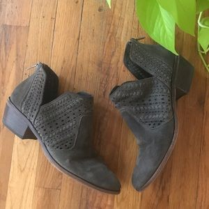 Suede Laser Cut Ankle Booties